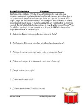 Música Cubana Lectura y Cultura: Spanish Reading on Cuban Music (AfroLatinos)