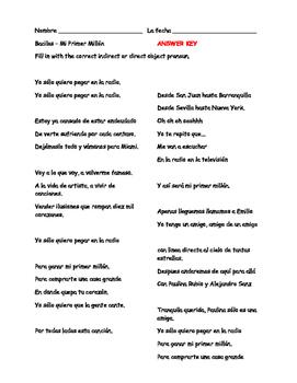 Musica latina Mi Primer Millón bacilos el subjuntivo, pronombres, infinitive