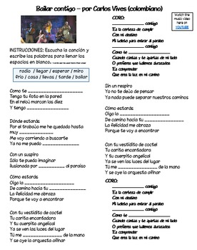"Basic Verbs in music (video/song lyrics)-Carlos Vives: ""Bailar contigo"""