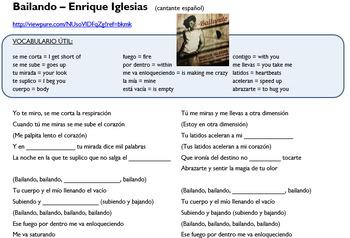 """Gerunds in music (video/song lyrics) - Enrique Iglesias: """"Bailando"""""""