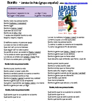 "Adjectives in music (video/song lyrics)-Jarabe de Palo: ""Bonito"""