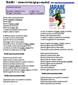 "Adjectives in music (video/song lyrics)-Jarabe de Palo: ""Bonito"""