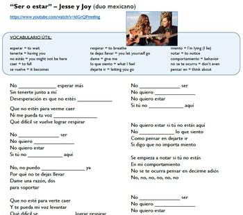 """Ser vs. Estar in music (video/song lyrics)-Jesse y Joy: """"Ser o estar"""""""