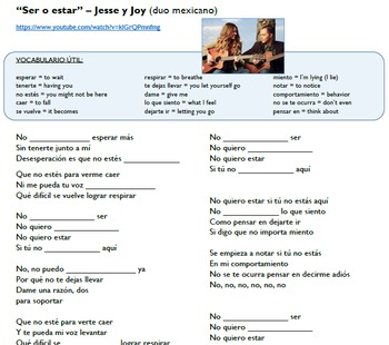 "Ser vs. Estar in music (video/song lyrics)-Jesse y Joy: ""S"