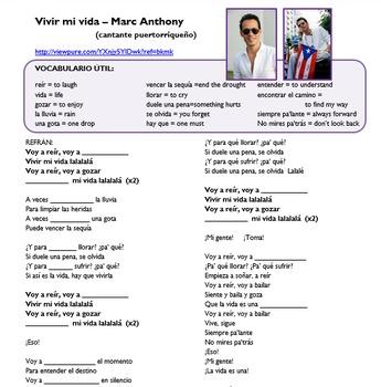 "Simple Future in music (video/song lyrics)-Marc Anthony: ""Vivir mi vida"""
