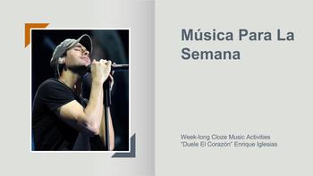 """Música para la semana - Cloze Activities """"Duele el Corazón"""" Enrique Iglesias"""