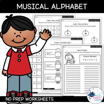 Musical Alphabet {No Prep Practice Sheets}