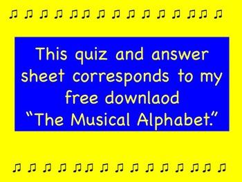 Musical Alphabet Quiz and Answer Key