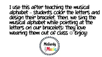 Musical Alphabet printable bracelets! Print, color, and wear!