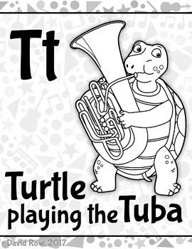 Musical Animal Alphabet - Bulletin Board and Coloring Pages | TpT