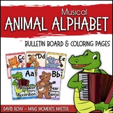 Musical Animal Alphabet - Bulletin Board and Coloring Pages