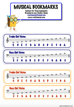 Musical Bookmarks with Treble and bass clef names... plus more