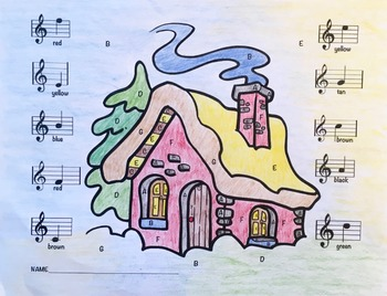 Musical Cabin Treble Clef Color Sheet