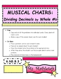 Musical Chairs Cards:  Dividing Decimals by Whole Numbers
