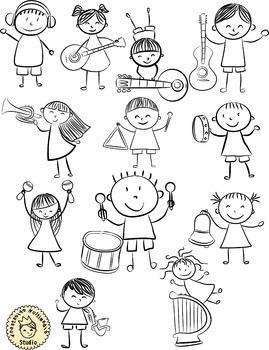 Musical Children Doodle Clipart