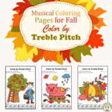 Musical Coloring Pages for Fall {Color by Treble Pitch} with answers