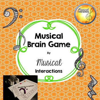 Musical Brain Game (B&W) - Comprehensive review, music centers, and sub plan