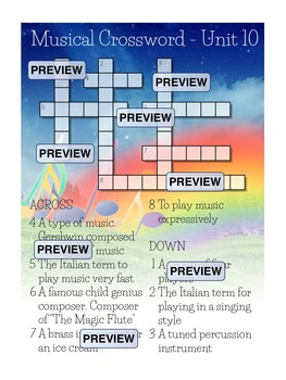 Musical Crossword Unit 10