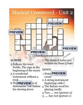 Musical Crossword Unit 2
