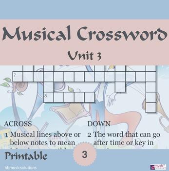 Musical Crossword Unit 3