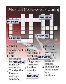 Musical Crossword Unit 4