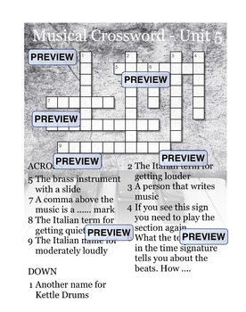 Musical Crossword Unit 5