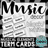Musical Elements/Grade Levels/Standards Term Cards {Black/White}