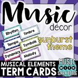 Musical Elements/Grade Levels/Standards Term Cards {Sunburst Theme}