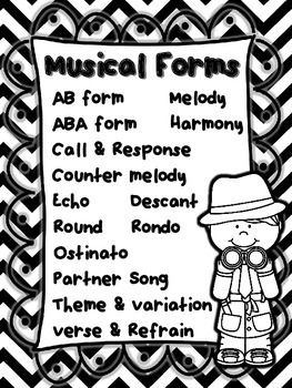 Musical Form Poster - Color, black & white, PLUS editable versions