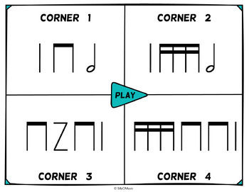 Musical Four Corners, 16th Note Rhythms (Stick Notation)