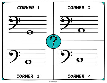 Musical Four Corners Game,  Bass Clef Pitches