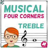Musical Four 4 Corners Game,  Treble Clef Pitches