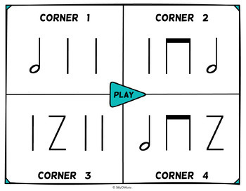 Musical Four Corners, Half Note Rhythm Game (Stick Notation)