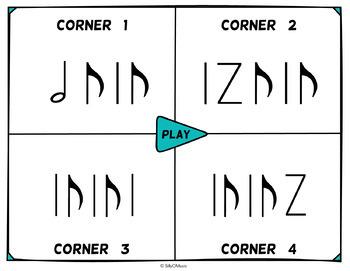 Musical Four Corners, Syncopa Rhythms (Stick Notation)