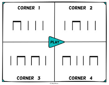 Musical Four Corners, Ta & Ti-Ti, Quarter note & Eighth Notes  (Stick Notation)