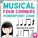 Musical Four Corners, Ta, Ti-Ti, Z Rhythms (Stick Notation)