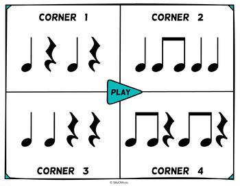 Musical Four Corners: Quarter and 8th Notes Rhythms (Stick & Standard Bundle)
