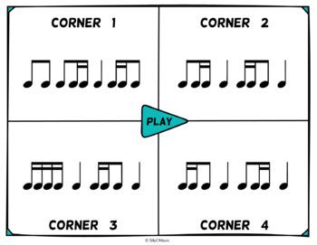 Musical Four Corners, Ti-Tika & Tika-Ti: 16th & 8th Note Rhythms- Stick Notation
