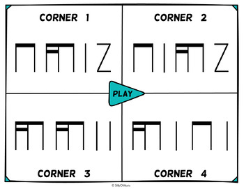 Musical Four Corners, Tika-Ti Rhythms (Stick Notation)