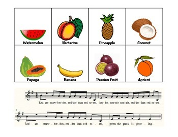 Musical Fruit Rhythm Cards