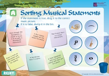 Sorting The Musical Statements Music Interactive Game