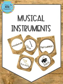 Musical Instrument Banner-Wood Background