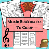 Musical Instrument Coloring Bookmarks with Hymns and Bible Verses