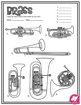 Music Coloring Pages Instrument Families Of The Orchestra Musical