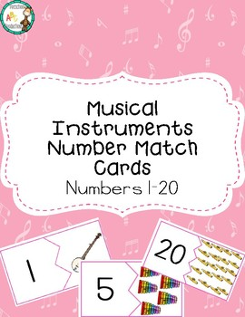 Musical Instrument Number Match Cards