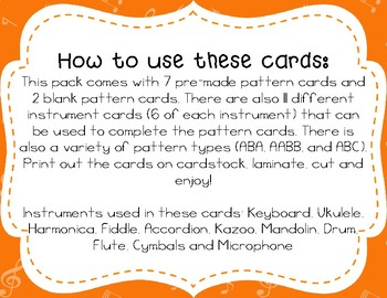 Musical Instrument Pattern Cards