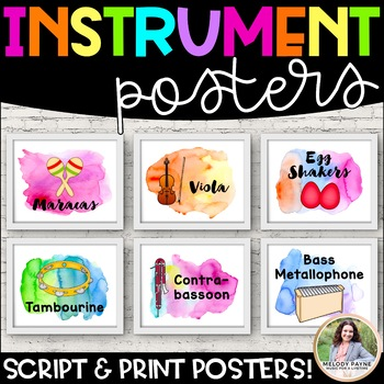 Musical Instrument Posters {96 Watercolor 8.5x11 Posters}