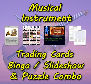 Musical Instrument Trading Cards, Bingo/Slideshow and Puzzle Combo