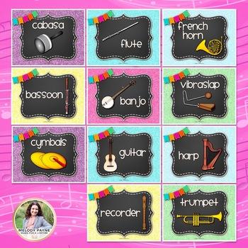 Musical Instrument Posters {Chalkboard & Vivid Glitter}