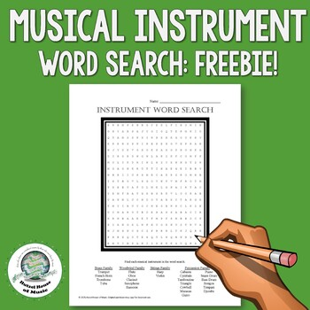 Musical Instrument Word Search FREEBIE